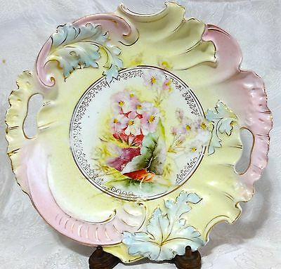 """Antique Hand Painted Porcelain Pastel Yellow & Pink HANDLED SERVING BOWL ~11"""""""