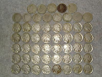 40 Buffalo nickels and 13 V nickels