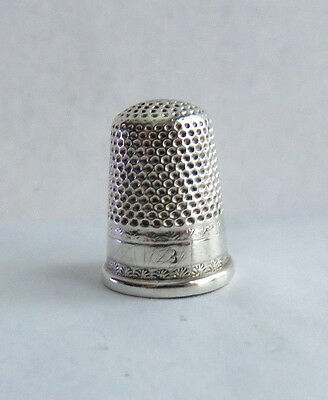 Tall Antique Sterling Silver Size 8 Thimble Has A Pin Hole