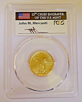 2016-W Gold Standing Liberty Quarter PCGS SP70 First Day Of Issue Mercanti