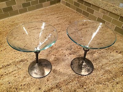 """2 Classic Retro Style Beefeater Silverplate Stem Martini Glasses 5.5"""" Tall"""