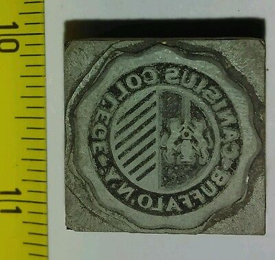 Vintage Letterpress Printing Block Canisius College Buffalo New York Seal Rare