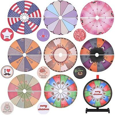 """WinSpin™ Portable 8 Pcs 15"""" Prize Wheel Template Replacement 8 Holiday Christmas"""