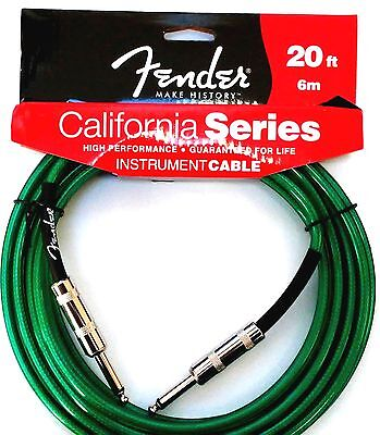 Instrument Guitar Cable Fender California Series 20 feet (6m)  Straight Green
