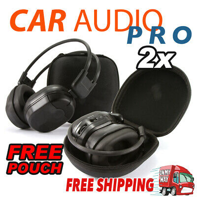 2x Infrared Wireless IR Headphones Dual Channel 2 Channel Car DVD