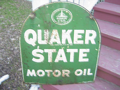 Tombstone Quakerstate Motor Oil Metal Double Sided Sign