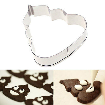 Poo Butterfly Cat Stainless Steel Cookie Biscuit Pastry Fondant Cutters Mold Set