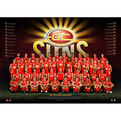 AFL 2017 Team Gold Coast Suns POSTER 60x80cm NEW Aussie Football League Players