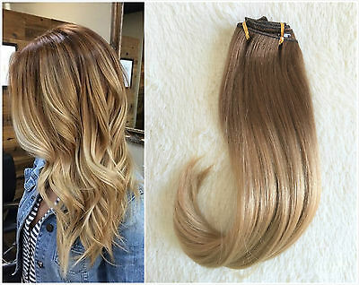 Full Head Clip in Human Hair Extensions Remy Ombre Dip Dye Straight Brown Blonde