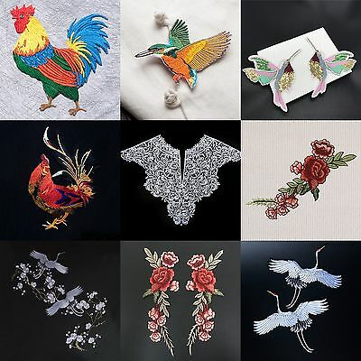 Rooster Crane Flower DIY Embroidered Sew on Patch Patches Clothes Fabric Sticker