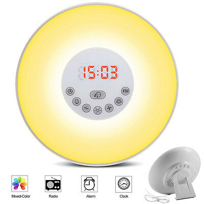 Wake-up Light Sunrise Alarm Clock LED FM Radio Bedside Night Lamp 7 Colours