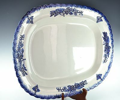 Large Antique Blue & White Leeds Platter - Molded Edge with Raised Tree & Floral
