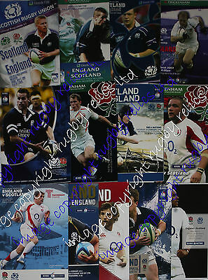 ENGLAND v SCOTLAND HOME AND AWAY RUGBY PROGRAMMES 2000 to 2016 GOOD+ CONDITION