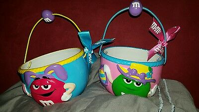 2 M&M's Ceramic Easter Baskets / Candy Dish - 1 Red Character & 1 Green