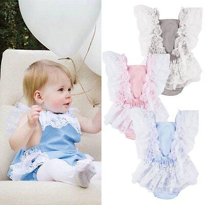 Newborn Infant Baby Girls Lace Floral Rompers Bodysuit Jumpsuit Outfits Clothes