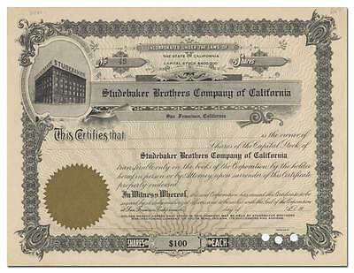 Studebaker Brothers Company of California Stock Certificate