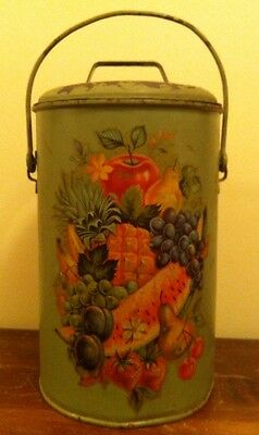 Antique Painted Metal Dairy Cream Milk Can w/ Lid & Bale