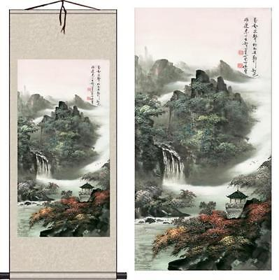 Chinese Silk Scroll Painting Fortune Landscape Painting Home Office Decoration