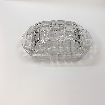"Glass Butter Dish with  Cover / Lid 6.7""x 4""appro"