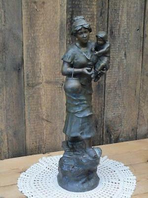 Antique Vintage Woman In Clogs Holding Child In Arms Cast Spelter Figure 20 inch