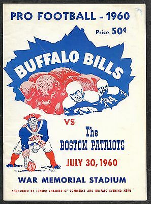 July 30 1960 FIRST EVER PATRIOTS AND 1ST EVER AFL GAME PROGRAM!  UNSCORED NM!