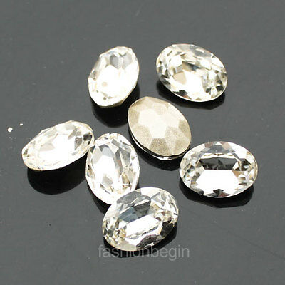 Crystal clear Machine Cut Oval Faceted Glass point foiled  back Rhinestones y-pk