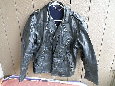 Men's Vintage 40s - 60s Black Leather Motorcycle Jacket with Harley Patch (j717)