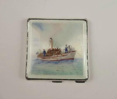 1956 Silver & Enamel Shipping Ladies Compact