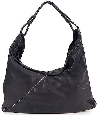 BOTTEGA VENETA Authentic Black Leather Woven Intrecciato Leather Handle Hobo Bag