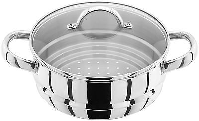 JUDGE Stainless Steel Multi-Steamer to fit 16/18/20cm Saucepans - Glass Lid JX12