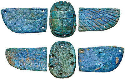 Ancient Egyptian Blue faience winged scarab. Egypt, Third Intermediate Period –