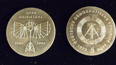 Two 1973 German Democratic Republic 5 Mark Otto Lilienthal Coins