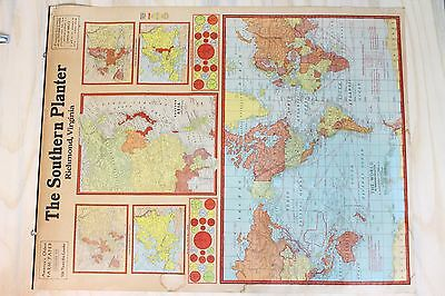 Vintage The Southern Planter Richmond, Virginia World U.S.A. Wall Map Rare Old