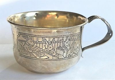 WEBSTER Sterling Silver PETER RABBIT Bunny Christening Baby Child's Cup 1920's