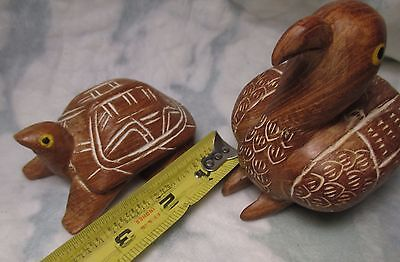 Hand Carved Wood TURTLE & BIRD Figures