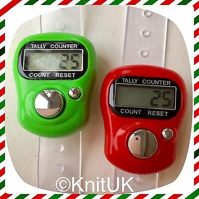 Digital Knitting Row-counter: LCD Tally Counter. 2 Pack (Green & Red)