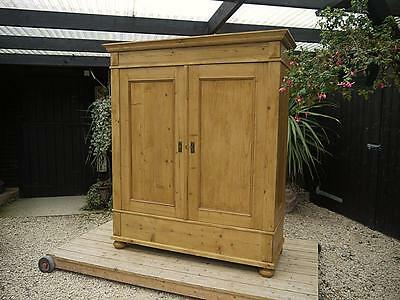 Stunning! Large Old Antique (Victorian) Knock Down Wardrobe/ Wide Like A Triple!