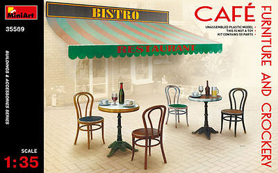 Cafe' Furniture & Crockery Plastic Kit 1:35 Model MINIART