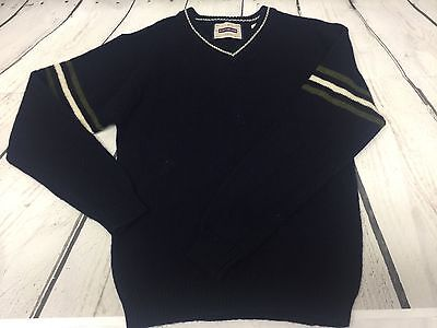 Boy's Lambswool Sweater Pullover Navy Blue Long sleeve V-Neck Size Small 8-10