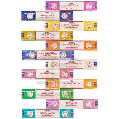 12 Variety Pack Satya Nag Champa Genuine Incense Sticks Joss 15g Mixed Scents