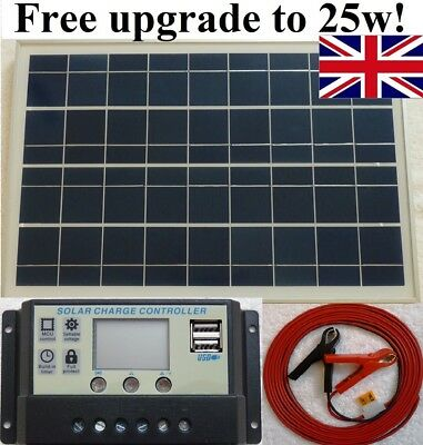 25w PV Solar Panel c/w 3m cable + 10A 12V 24V battery charger controller UK