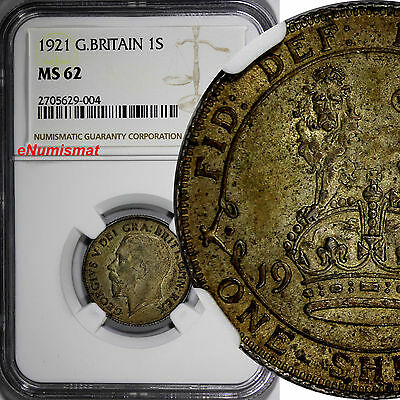Great Britain George V Silver 1921 1 Shilling NGC MS62 Toned SCARCE KM# 816a