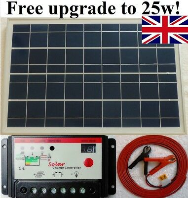 25w Solar Panel + 10A 12V 24V battery charger controller  + 7m cable fuse & clip