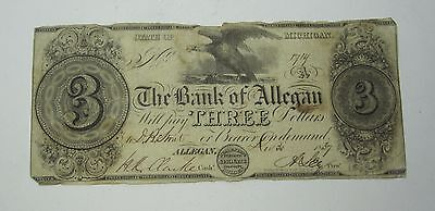 The Bank of Allegan 3 Dollar Bill State of Michigan (CC#177)