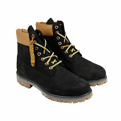 """Timberland 6"""" Premium Boot Mens Black Leather Casual Dress Lace Up Boots Shoes"""