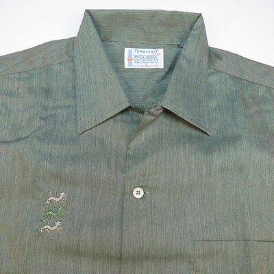 VINTAGE 1960s UNWORN NEW TOWNCRAFT PENNEYS BUTTON UP EMBROIDERED SHIRT M 15-15.5