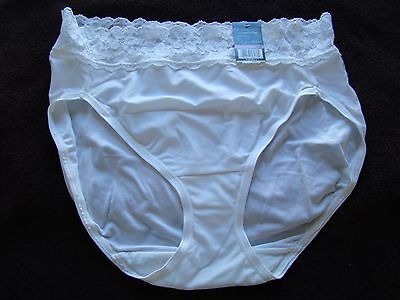 Vintage New Vanity Fair Bikini Panty Nylon Cotton Lined Lace Trim Size 6/M White