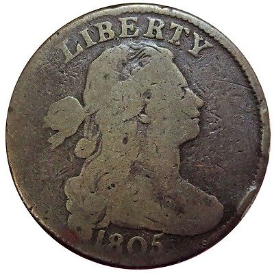 1805 United States Draped Bust One Cent Copper Coin Good Condition