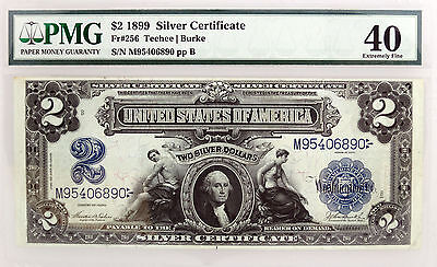 Series of 1899 $2 Mini Porthole Silver Certificate Fr#256 PMG XF40