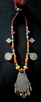 Morocco - Beautiful silver berber necklace made of genuine coral and amber beads